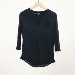 Lucky Black Crochet Trim Spilt Neck 3/4 Sleeve Top